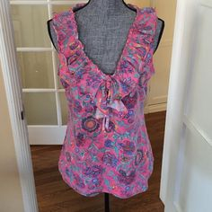 Cute pink paisley print top by RL ruffle neckline 100% cotton machine washable Cold. Great with jeans or shorts! Gorgeous pink and purple Ralph Lauren Tops Blouses