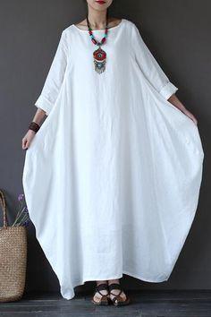 White Bat Sleeve Causel Long Dress Plus Size Oversize Women Clothes 1638 - FantasyLinen Plus Size Maxi Dresses, Trendy Dresses, Casual Dresses, Summer Dresses, Summer Maxi, Casual Outfits, Spring Summer, Linen Dresses, Women's Dresses