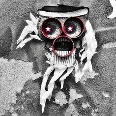 street art berlin @ pappelallee - photo by ironwhy - artist unknown #windinmyhair #streetart #bottlecapeyes #sterni #sternburg #redface #whitehair #whitebeard #monsterface #redeyes #hair #stareyes #starryeyed #staryeyed #fetish #voodoo #scary #berlin #streetartberlin #urbanart #publicart #streetartistry #mural #grafittiart #graffiti #stencilart #stencil #ironwhy #prenzlauerberg #pappelallee