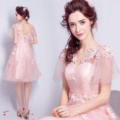 WWW USA New Women's Sexy Dress Light Pink Lace Flowers Short Sleeve Short mini Bride Wedding Dress Formal Dress DR5906PNK