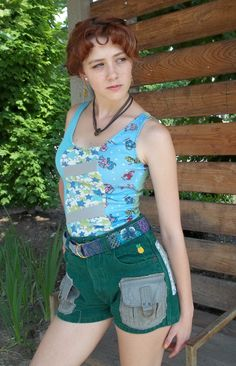 Casual summer stylin' with maneater tank, green hemp denim shorts, reversible belt, and coin jewelry