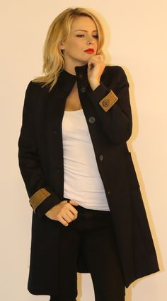 Navy long coat with trim designed by the customer