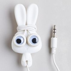 One of my favorite discoveries at WorldMarket.com: White Bunny Earbuds and Cord Wrapper