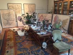 Galerie Maximillian owner, Albert Sanford, recently visited the studio of Sarah Graham. View photos from the studio visit, and see Graham's workspace. Sarah Graham Artist, Flower Model, New Shows, Studio, Inspiration, Painting, Cathedral, Drawing, Design