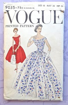 Vogue 9035 Vintage 1950s Womens Full Skirt Dress by Fragolina, $34.00