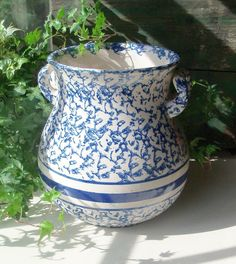 Antique Blue and White Spongeware Chamber Urn with Handles from acquisitions on Ruby Lane
