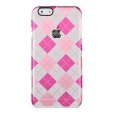 Tartan,pattern,hot pink,white,peach,girly,cute,fun uncommon clearly™ deflector iPhone 6 case