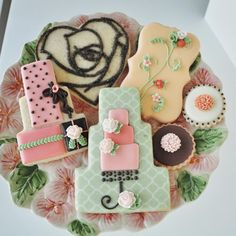 Wedding Cookies - Abby Collection: Shabby chic inspired wedding or birthday cookie collection