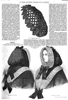 Hair net of criss-crossed black ribbon with wider ribbon trim (and amazing quilted hood). Historical Costume, Historical Clothing, Jean Délavé, Civil War Fashion, Victorian Hairstyles, War Bonnet, Civil War Dress, 19th Century Fashion, Period Outfit