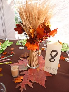 Wheat and Maple Fall Wedding Centerpieces fall wedding styles / rustic october wedding / fall wedding stuff / fall wedding autumn / wedding ideas fall november Fall Wedding Centerpieces, Wedding Table Centerpieces, Centerpiece Ideas, Wheat Centerpieces, Mesa Floral, Wedding Colors, Wedding Flowers, Wedding Orange, Chapel Hill