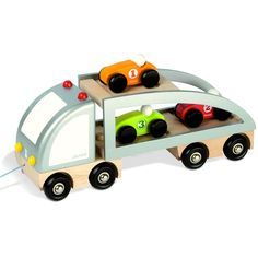 Janod Car Carrier Truck Pull Toy (JJA-PULL-TRUCK-CARS-05597) | Oompa Toys