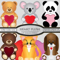 Valentine's Day plush stuffed animal clipart images for scrapbooking, cards etc. featuring teddy bears, panda and koala bears, a kitten and puppy with Valentines hearts. By PaperElement