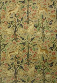 Arden Linen Fabric Pale green Linen fabric with typical 16th century tapestry, woodland scene in coral and Cobalt blue.  Suitable for Curtains and Domestic Upholstery.
