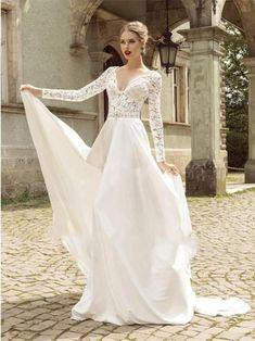 12ea952826f White Long Sleeve V-neck Chiffon Long Wedding Dresses Online