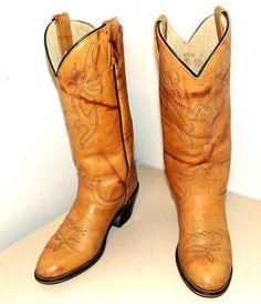 Vintage Tan Brown Western Cowboy boots -- Acme brand