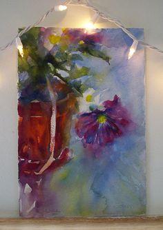Original Watercolor Painting Still Life Clay Pot Floral Fine Art Alisa Wilcher | eBay