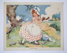 Vintage 1930's Nursery Rhyme Print, Little Miss Muffet. £15.00, via Etsy.