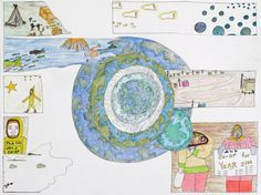 Shuvinai Ashoona, Earth Surrounded by Drawings, ink and coloured pencil on paper, x 66 cm, private collection. Canadian Art, Detailed Drawings, Colored Pencils, Book Art, Earth, Ink, Paper, Artist, Prints