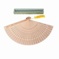 dotcomgiftshop ELEGANT SANDALWOOD FAN. PARTY WEDDING FAVOURS