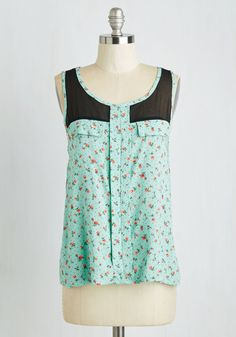 Heart Nouveau Top in Roses. Stay true to yourself and the styles you love, like this rich mint green blouse. #mint #modcloth
