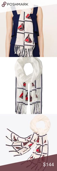 Tory Burch Sailboat Embroidered Oblong Scarf Sailboat appliqués and crisp binding lend graphic appeal to our Embroidered Oblong Scarf. This refined style is made in India from cotton-linen, cut into an effortless silhouette that layers on with ease. Finished with yarn fringe, it works well with a range of looks, including the season's maritime-inspired separates. Embroidered appliqué and binding detail Yarn fringe on ends Linen, cotton Dry clean Tory Burch Accessories Scarves & Wraps