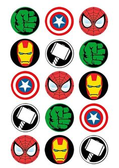 Avengers cupcake topper 15 x 2 edible wafer paper Marvel Cupcakes, Avenger Cupcakes, Avenger Cake, Avengers Birthday, Superhero Birthday Party, Superhero Cupcake Toppers, Character Cupcakes, The Avengers, Spiderman