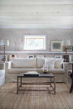Classic country house vibes in this beautiful rustic setting designed by Ikea Karlstad Sofa, Ikea Sofa, Ikea Furniture, White Shiplap Wall, 3 Seater Sofa, Sofa Covers, Fashion Room, Living Room Decor, Living Rooms