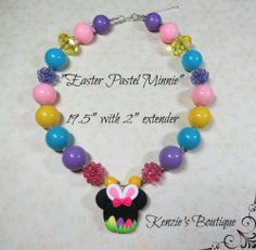 """Easter Pastel Minnie"" Chunky Beaded Necklace, Photo Prop, Adult, Child"