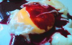 poached egg in red wine sauce... :P