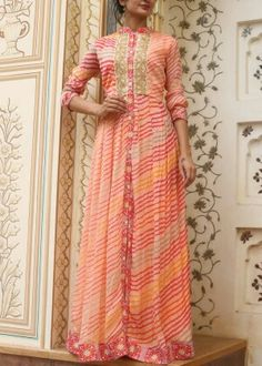 Orange crepe anarkali tunic #vasansi #jaipur #vasansijaipur #shopnow http://www.vasansi.com/casual/tunic/
