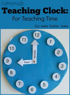A Homemade Teaching Clock via Teacher Mama (pinned by Super Simple Songs) #educational #resources for #children
