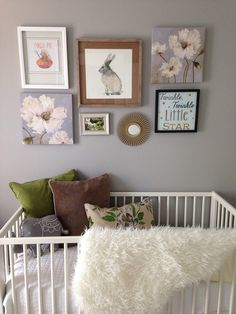 Nursery with Gray Walls. Woodland theme. Green Accents. Could be gender neutral.