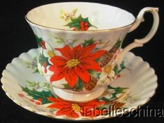 Royal Albert Teacup Saucer Yuletide Poinsettia & Holly Christmas Tea Cup