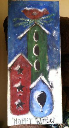 Wood painted bird houses