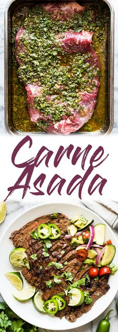 Carne Asada Recipe {Juicy and Flavorful!} - Isabel Eats - - A delicious Carne Asada recipe made from marinated flank or skirt steak and cooked on the grill. Juicy, tender and a great addition to any Mexican meal! Steak Fajitas, Rinder Steak, How To Grill Steak, Texas Steak, Flank Steak Chimichurri, Steak Meals, Flank Steak Tacos, Steak Marinades, Carne Asada