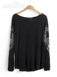 US$17.99 Classy Black Long Sleeves Asymmetrical Hem T-Shirt. #T-Shirts #Asymmetrical #Black #Classy