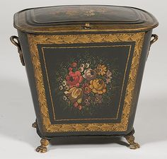 Late Regency-style painted tole coal hod, English, circa 1850-1870