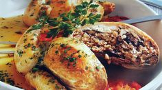 Poussin with mushroom and liver stuffing