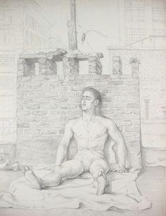 Tony on the Roof, by Paul Cadmus Magischer Realismus, Tempera, Aquarelle,  Wasserfarben b261ae5727