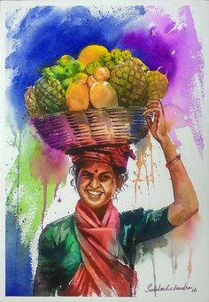 Watercolor Paintings For Beginners, Watercolor Landscape Paintings, Realistic Paintings, Watercolor Artists, Watercolour, Oil Pastel Paintings, Indian Art Paintings, Fantasy Paintings, Hue