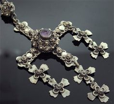 Yalalag Cross | Designer ?  Sterling Silver and Amethyst.  Vintage, Taxco