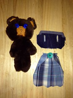 """Sheared Beaver teddy bear with cape and 90's jean vest accessories. 8"""" tall"""