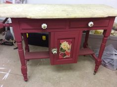 Bespoke Victorian washstand. Painted in farrow and ball's rectory red