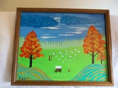 This is a 11 x 14 Acrylic painting of Sheep Herder with wooden frame and signed.