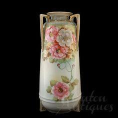 Large Imperial Nippon Porcelain Vase Hand Painted Jewelled Floral Design 12 Inch | eBay