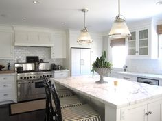 white kitchen, white counters
