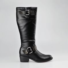 Double-buckle rivets  knee boot