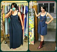 A quick & clever no-sew Maxi Dress ReFash!  :)