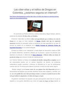 Las ciber-ollas y el tráfico de Drogas en Colombia, estamos seguros en internet?