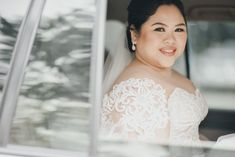 Our bride Jana is beautiful sitting in her car in our off the shoulder Hannah Kong designed bridal gown. Bridal Gowns, Wedding Gowns, Wedding Day, Whimsical Fashion, Off The Shoulder, Brides, Feminine, Elegant, Celebrities